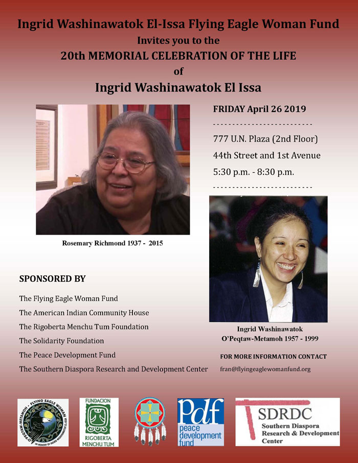 20th MEMORIAL CELEBRATION OF THE LIFE of Ingrid Washinawatok El Issa